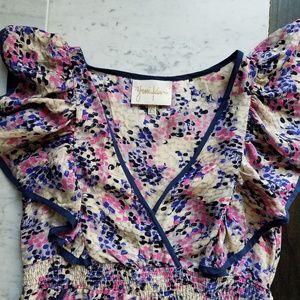 Yumi Kim Silk Mini Dress XS Flutter Sleeve 0 2